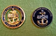 Us Navy Senior Chief Petty Officer Challenge Coins Anchor Up Die Cut And Scpo