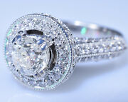 1.60 Ct. Solitaire Diamond 11900 Halo Engagement Ring 14k White Gold Size 5.5
