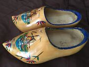 Dutch Wooden Clogs Made In Holland, Sailboat And Windmill Scene - See Pictures