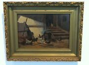 Antique American Late 19th C. Oil Painting C. F. Witman Chickens In Barnyard