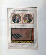 Italian Antique Lithograph, Pens And Tablets, Ca 1800-1900