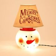 New Beautiful Country Christmas Lighted Crackle Glass Snowman Lamp W/ Shade