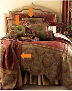 New Sweet Dreams Mombasa Luxury Pillow Sham Throw Bedding Set Lot Red Gold 1500