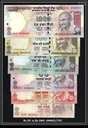 India Banknote Low Serial 000002 Gem Unc Rs 10 To 1000 Previous Issue Gem Unc