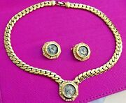 Stunning Vintage Christian Dior Roman Coin Necklace And Earrings