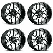 Set 4 20x9 Vision Off Road Sliver Black Machined Face 8x180 Wheels 12mm W/ Lugs