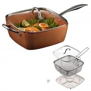 Deep Square 9.5in Nonstick Copper Pan 5pc Set Frying Basket Steamer Tray Lid
