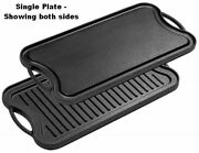 Pre-seasoned Cast Iron Reversible Single Grill Or Griddle Pan 19¾-inch X 10-inch