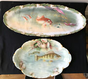 Exquisite Rare Antique French Haviland 2 Fish Platters 8 Plates Hand Painted
