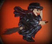 Vintage Paper Mache Halloween Witch On Broomstick - 17x15x6 Rare