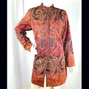 Coldwater Creek Pink With Rustic Orange Purple Gold Paisley Woman Dress Jacket