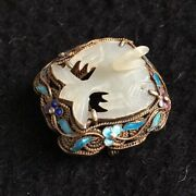 Antique Chinese Export Sterling Enamel Silver Carved Jade Bird Large Pin Brooch