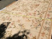 Stark Hand Made Needlepoint Beige Lotus Four Seasons Oriental Rug 16and03910x11and03910