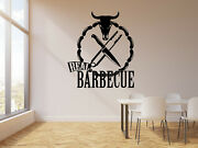 Vinyl Wall Decal Real Barbecue Bulland039s Head Knife Cooking Food Stickers G266