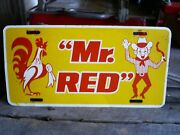 Vintage Clark's Meats Mr. Red Paxinos, Pa Advertising License Plate Car Truck