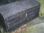 Antique Pine Wood Painted Immigrant Trunk Chest Document Box 26 X 13 X 12
