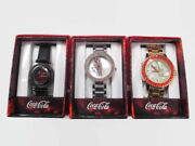 Coca-cola Accutime Set Of 3 Watches Black Floating Crystal And Crystal Bevel