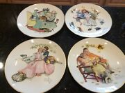Vintage Gorham Norman Rockwell 1973 Limited Edition Four Seasons Plates Set Of 4