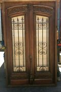 Antique Double Front Door With Wrought Iron Inserts
