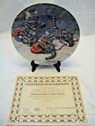The Edwin M Knowles China Co. Kittens And Mittens Plate With Box And Authentic Cert.