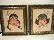2 Pettipoint Pictures Of Indian Children With Frames - Adorable