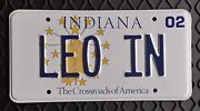Leo In - 2002 State Of Indiana Issued Personalized Vanity License Plate – Mint
