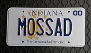 Mossad - 2000 State Of Indiana Issued Personalized Vanity License Plate – Mint