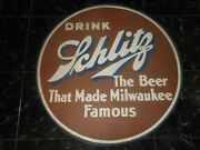 Vintage Nos Schlitz Beer Milwaukee Wi Advertising Painted Spare Tire Cover Sign