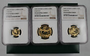 South Africa 2002 Proof 0.85 Oz Gold 3 Coin Set Cheetah Ngc Pf69 Uc Mintage350