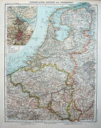 Map Engraving 1905 Justus Perthes Netherlands Belgium And Luxemburg
