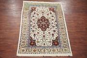6x9 Antique Cotton Indian Agra Rug 1900and039s Hand-knotted Abrash Cotton 6 X 8.7