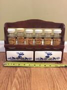 Vintage Wooden Spice Rack W/porcelain Drawers 6 Spice Containers Japan