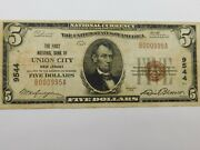 1929 5 U.s National Currency First National Bank Of Union City Nj 9544
