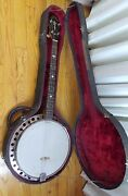 Antique Ss Stewart Banjo Mother Of Pearl Detail With Case