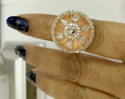 1.38ct Gh Vvs2 Pear Round Diamond 14k Solid Rose Gold Cluster Ring Size 7