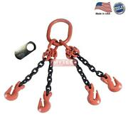 5/8 G100 Chain Sling 4-leg Cradle Clevis Grab Hook Qog Made In Usa