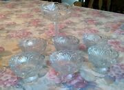 7 Pc Eapg Glass Crystal Compote And Berry Bowl Dessert Set Ice Cream Dessert