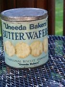 Antique Tin N B C Uneeda Bakers Butter Wafers National Biscuit Co New York Usa