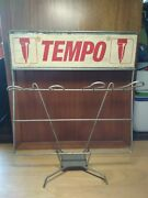 Vintage Empty Advertising Tin Store Display Stand From Tempo Pens