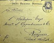 Germany Bayern 1881 Cover With Letter Per Sea P.o To Burma Rare