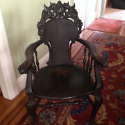 Antique Woodem Armchair With Ornaments