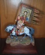 Collectible Miniature Flagman On The Horse 11 X 7.5 X4 Hand Paint