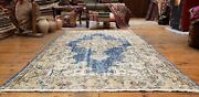 Stunning Late 1940and039s Antique Teal Blue Dye Wool Pile Oushak Rug 4and0391x6and03910and039and039