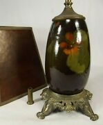 Weller Lamp Hand Painted Flowers Shade Brass Antique Old Double Socket Mica
