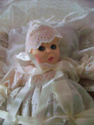 Vintage Gerber 12 Inch Christening Baby Doll With Basket And Bedding