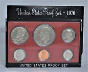 1976-s Us Mint Proof Set With 6 Coins Eisenhower Dollar Bicentennial Edition Box