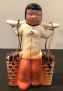 Vintage Asian Girl Carrying Water Buckets Figurine Glazed Painted Ceramic Vgc
