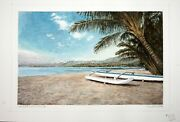 Hawaii Watercolor Painting Outrigger Canoeand039s At Kualoa By Larry Segedin 103