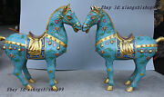 Classic Chinese Fengshui Bronze Gilt Cloisonne Tang War Horse Steed Statue Pair