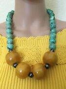 Huge Vintage Turquoise And Baltic Amber Butterscotch Necklace 219.11 Grams